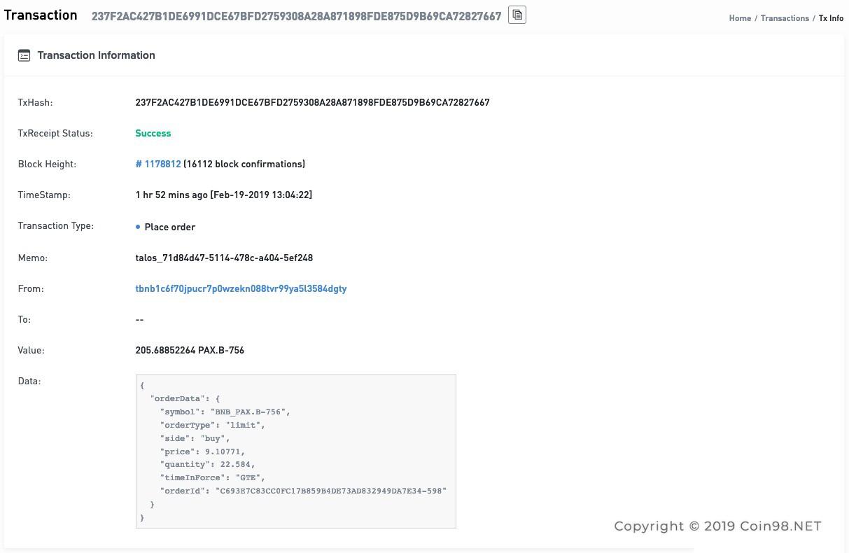 thông tin giao dịch binance chain 4