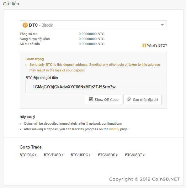 nạp bitcoin sàn binance 2