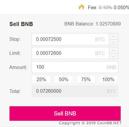 stop limit sàn binance