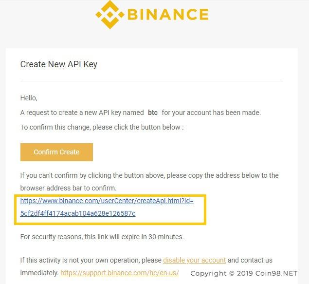 mail xác nhận api sàn binance