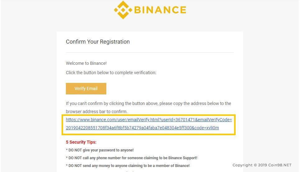 xác nhận mail sàn binance