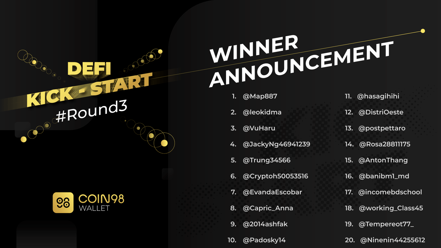 Defi Kick Start Round 3 - Winner Announcement